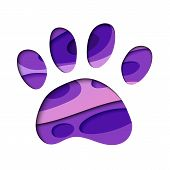 Paw Print In Layered Paper Cut Style Silhouette. Animal Childish Image Of A Paw Print poster