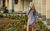 Elongated Sweatshirt Tunic Dress. Free Style Comfortable. Enjoy Softness. Blonde Girl Make Up Face F poster