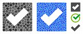 Check Composition Of Round Dots In Various Sizes And Color Tones, Based On Check Icon. Vector Round  poster