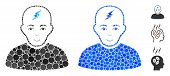 Clever Boy Mosaic Of Round Dots In Variable Sizes And Color Tinges, Based On Clever Boy Icon. Vector poster