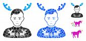 Deers Pullover Horned Husband Mosaic Of Small Circles In Various Sizes And Color Hues, Based On Deer poster