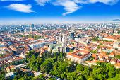Croatia, Capital City Of Zagreb, Aerial View Of City Centre And Cathedral Towers From Drone poster
