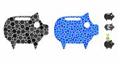 Piggy Bank Mosaic Of Spheric Dots In Variable Sizes And Color Tones, Based On Piggy Bank Icon. Vecto poster