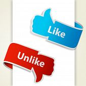 Like and unlike icons. Thumb up and thumb down signs for blogs and websites. Raster copy of vector i