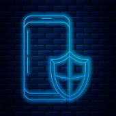 Glowing Neon Line Smartphone, Mobile Phone With Security Shield Icon Isolated On Brick Wall Backgrou poster