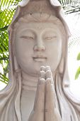 stock photo of yin  - Goddess of mercy Guan yin statue in chinese temple Bangkok - JPG