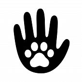 Human Hand Palm With Dog Or Cat Paw Print Symbol. Veterinary Pet Care, Shelter Adoption Or Animal Ch poster