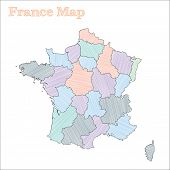 France Hand-drawn Map. Colourful Sketchy Country Outline. Vector Illustration. poster