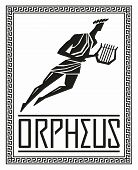Flying Figure Silhouette Of Orpheus. Greek Mythology. Vector Hand Drawing poster