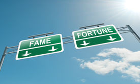 picture of road sign  - Illustration depicting a highway gantry sign with a fame and fortune concept - JPG