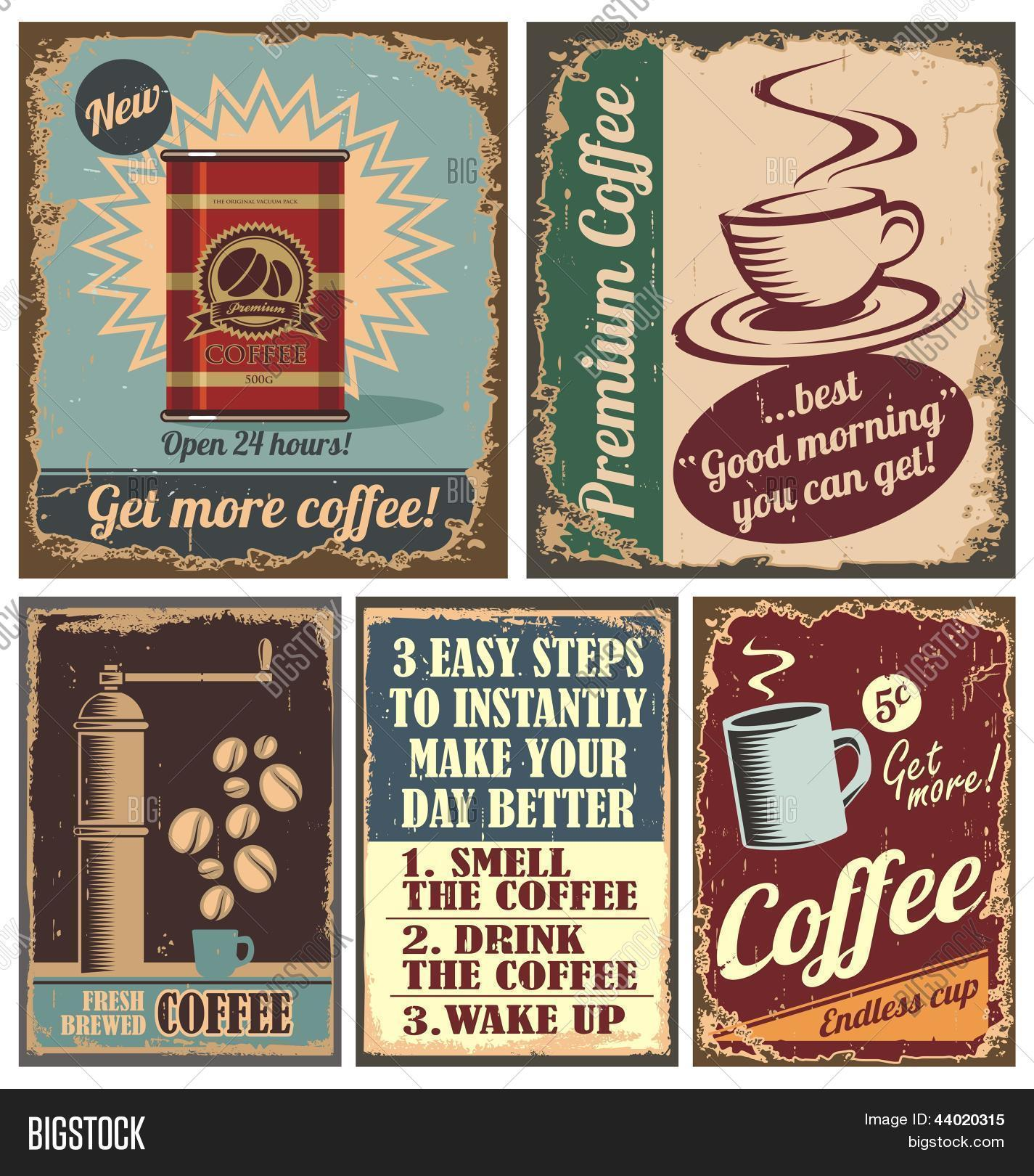 Coffee Posters Retro ~ Vintage coffee posters metal signs vector photo bigstock