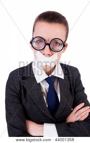 Woman businesswoman in censorship concept