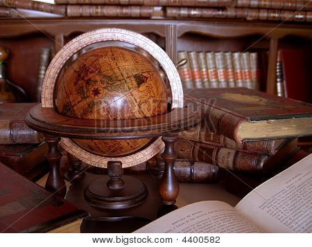 Ancient Books And Globe.