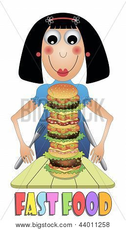 Girl eating a big hamburger