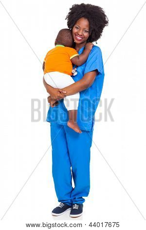 beautiful black paediatric nurse with child isolated on white