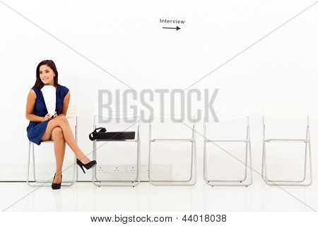 young career woman waiting for job interview