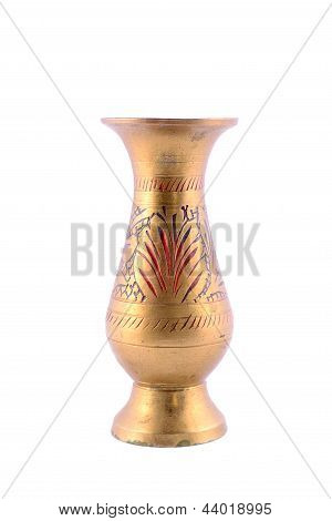 Antique Copper Vase Isolated
