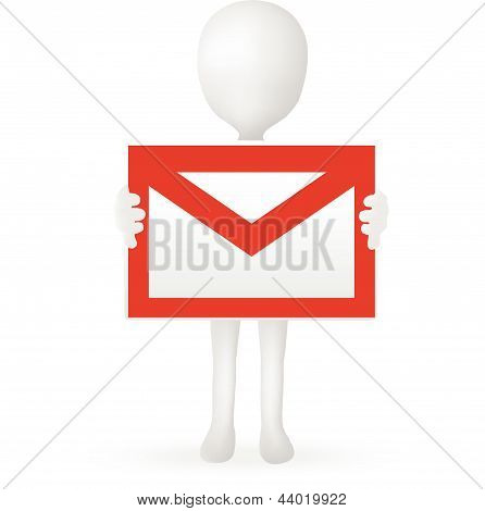 EPS Vector 10 - small 3d man hands holding a mail box