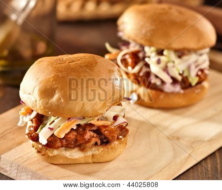 two bbq pulled pork sandwich sliders
