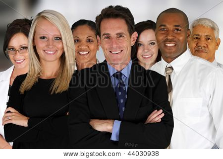 Business Team of Mixed Races at Office
