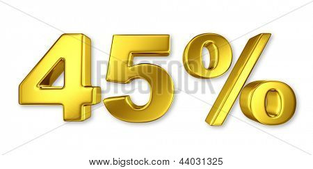 45% discount digits in gold metal, forty five percent golden sign