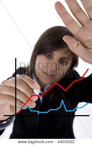 Businesswoman Drawing Sales Chart In White Board