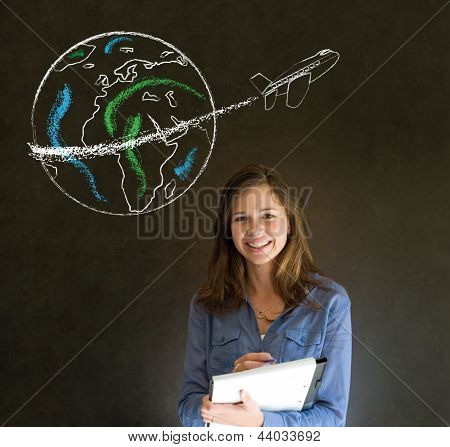 Woman With Chalk  Globe And Jet World Travel
