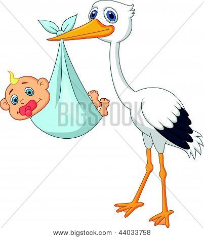 Stork carying baby cartoon