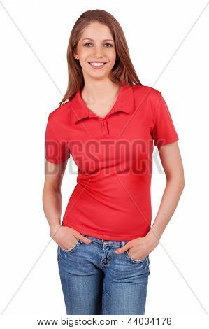 Pretty Girl In Blue Jeans And A Red T-shirt
