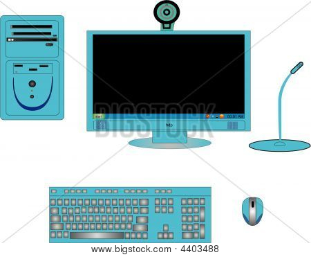 Illustration Of Computer Components In Blue Or Cyan
