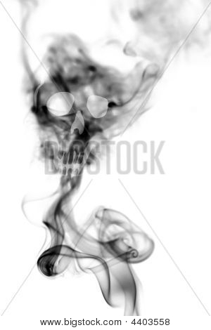 Death Skull Made With Cigarette Smoke