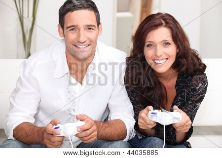 Couple playing computer games