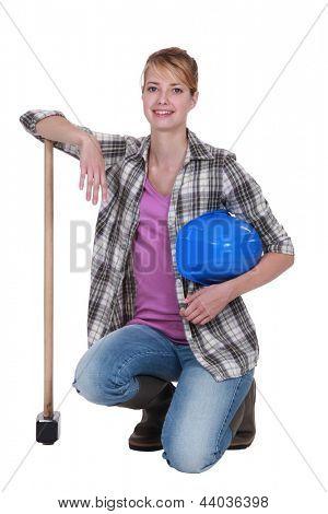 craftswoman posing