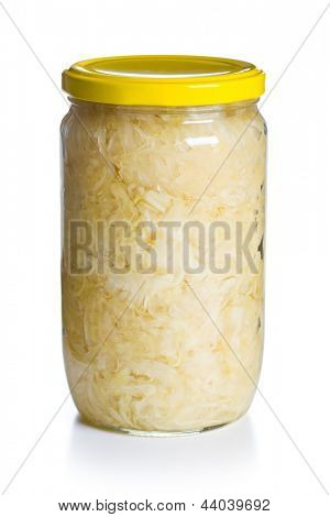 sauerkraut in jar on white background