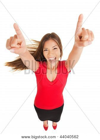 Successful Woman Cheering In Jubilation