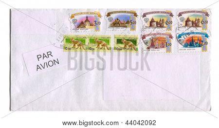 RUSSIA - CIRCA 2013: A stamp printed in Russia shows image of the Rostov, Novgorod, Pskov, Astrakhan, Kazan Kremlin, and Wolfcirca 2013.
