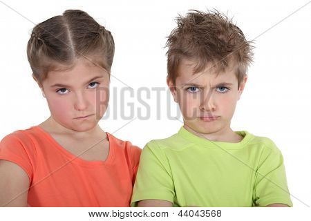 Upset brother and sister
