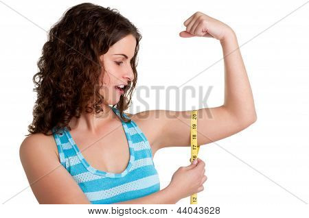 Surprised Woman Measuring Her Biceps