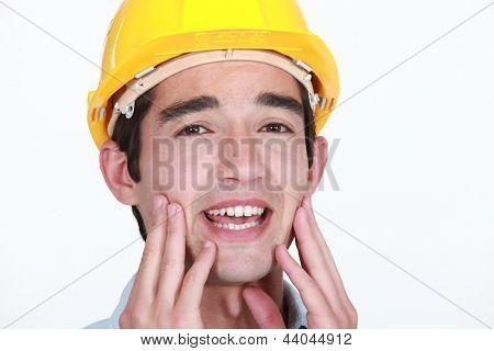 Worker with toothache