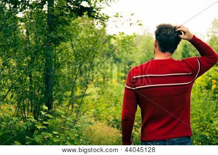 Lost Young Man In Nature