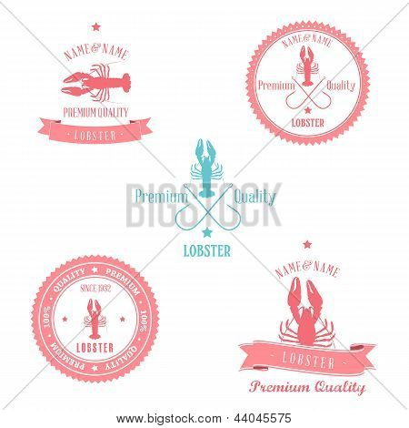Vintage Lobster Badge set
