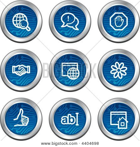 Internet Communication Web Icons, Blue Electronics Buttons Series