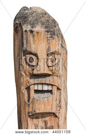 Monster Pole. Old Art Create Of Wood