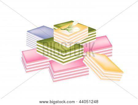 Thai Layer Sweet Cake On White Background