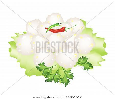 Steamed Sago Palms With Sweet Pork On White Background