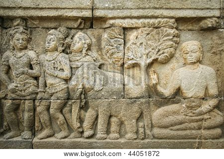 Borobudur Ancient Wall Art Indonesia