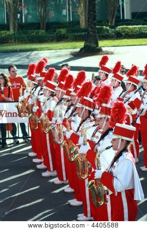 Nebraska Marching Band In Gator Bowl Parade