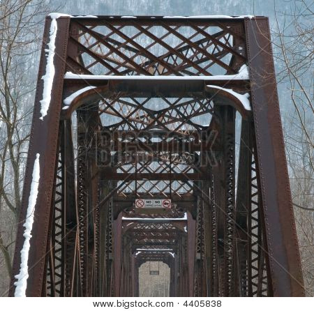 Converted Railroad Bridge In Winter