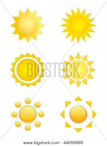 Sun symbol icon vector set. Spring and summer weather design element.