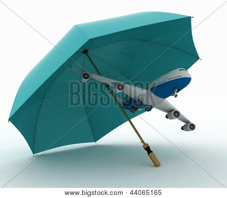 Passenger plane flies under the umbrella. conception of insurance on air flights